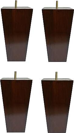 6 Solid Wood Furniture Sofa/Chair/Ottoman Tapered Legs Walnut Finish [5/16 Bolt] - Set of 4