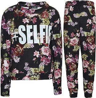 Girls Track Suit Kids #Selfie Floral Lounge Suit Jogging Suit Top Bottom 7-13 Yr