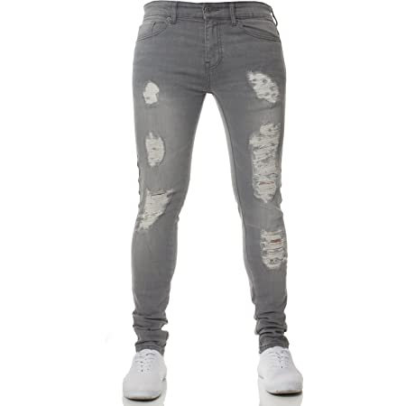 New Mens ENZO Super Stretch Skinny Jeans Ripped Distressed Designer