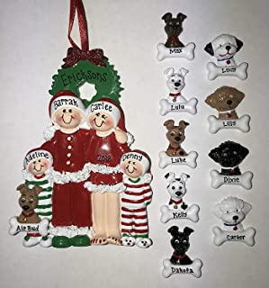 Two 2 Dogs PJ Family Personalized Christmas Ornament Family of 3, 4, 5 Family Pet Three Four FiveTwo