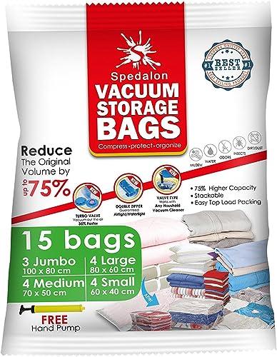 Vacuum Storage Bags - Pack of 15 (3 Jumbo + 4 Large + 4 Medium + 4 Small) ReUsable Space Savers   Free Hand Pump for ...