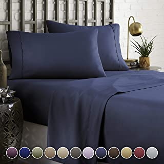HC COLLECTION Hotel Luxury Comfort Bed Sheets Set, 1800 Series Bedding Set, Deep Pockets, Wrinkle & Fade Resistant, Hypoallergenic Sheet & Pillow Case Set(King, Navy Blue)
