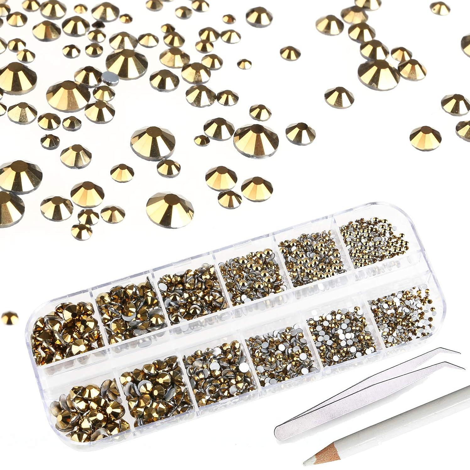 2000+ PCS Rhinestones for Craft,AKWOX Crystals Nail Art Rhinestones Round Beads Flatback Acrylic Charms Gems Stones + Tweezers + Picking Pencil with Storage Organizer Box,6 Sizes(2-5 mm)-Gold