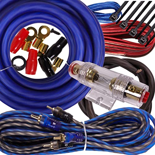 4 awg g gauge Amp Amplifier Bass Cable Wiring Kit Car Audio High Quality 2500W