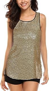 Women's Sleeveless Sparkle Shimmer Camisole Vest Glitter Sequin Tank Tops