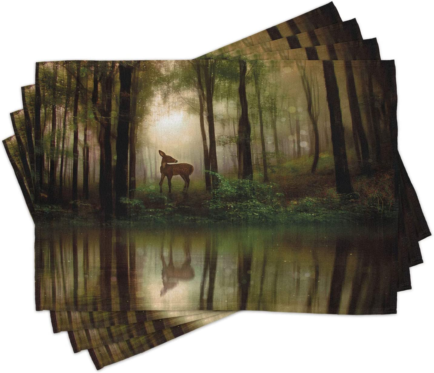 Ambesonne Nature Place Mats New mail order Set of The 67% OFF of fixed price Deer Forest in 4 Reflect