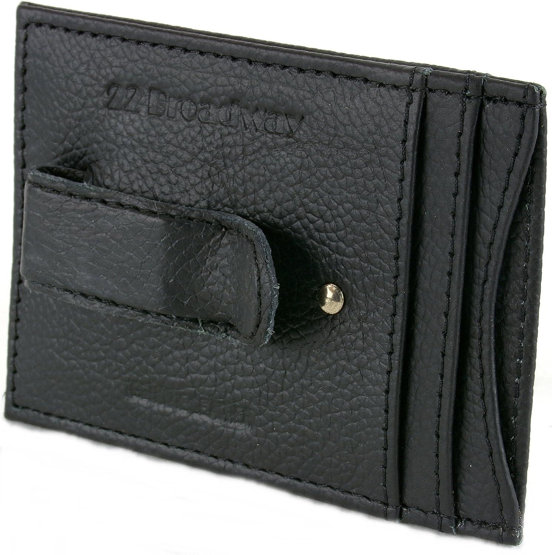 22 Broadway Mens Genuine Leather Money Clip front pocket wallet ID Case Thin Slim