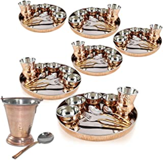 Dungri ®Set of 6, Indian Dinnerware Stainless Steel Copper Traditional Dinner Set of Thali Set (Dinner Plate, Cutlery, Bowls, and Glass) With Serving Balti Bucket