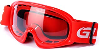 GLX GX08 youth & kids Motocross/ATV/Dirt Bike/Airsoft Safety Goggles, ANSI Z87.1 Certified (Red) - Anti-Fog, UV Protection, Shatter-Proof