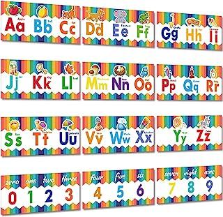 12 قطعة ملصقات تعليمية لمرحلة ما قبل المدرسة الحروف الأبجدية رقم الفصل الدراسي ملصق جداري ديكورات الأرقام 0-9 ملصقات لحضان...