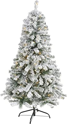 5ft. Flocked Rock Springs Spruce Artificial Christmas Tree with 150 Clear LED Lights