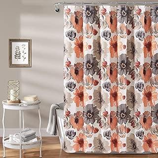 "Lush Decor Leah Shower Curtain-Bathroom Flower Floral Large Blooms Fabric Print Design, x 72"", Coral/Gray"