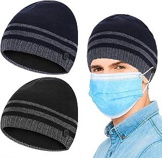 قطعتين من قبعة صغيرة للشتاء الدافئ مع أزرار قبعة رأس مرنة منسوجة مع حامل حلقة الأذن للرجال إكسسوارات الشتاء