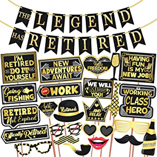 Wobbox Retirement Photo Booth Party Props with The Legend has Retired Bunting Banner, Golden & Black, Retirement Party Dec...