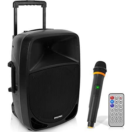 1200W Portable Bluetooth PA Speaker - 12'' Subwoofer, LED Battery Indicator Lights W/Built-In Rechargeable Battery, MP3/USB/SD Card Reader, and UHF Wireless Microphone - Pyle PSBT125A