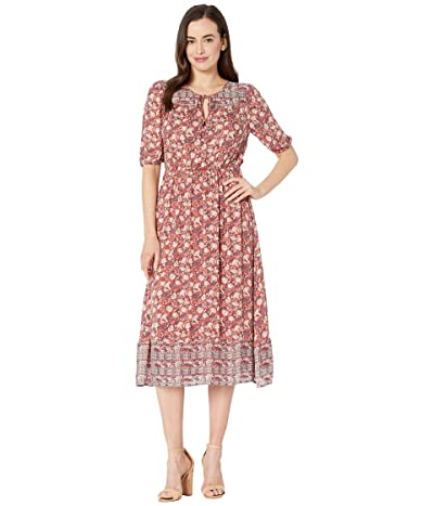 Lucky Brand Printed Peasant Dress (Red Multi) Women