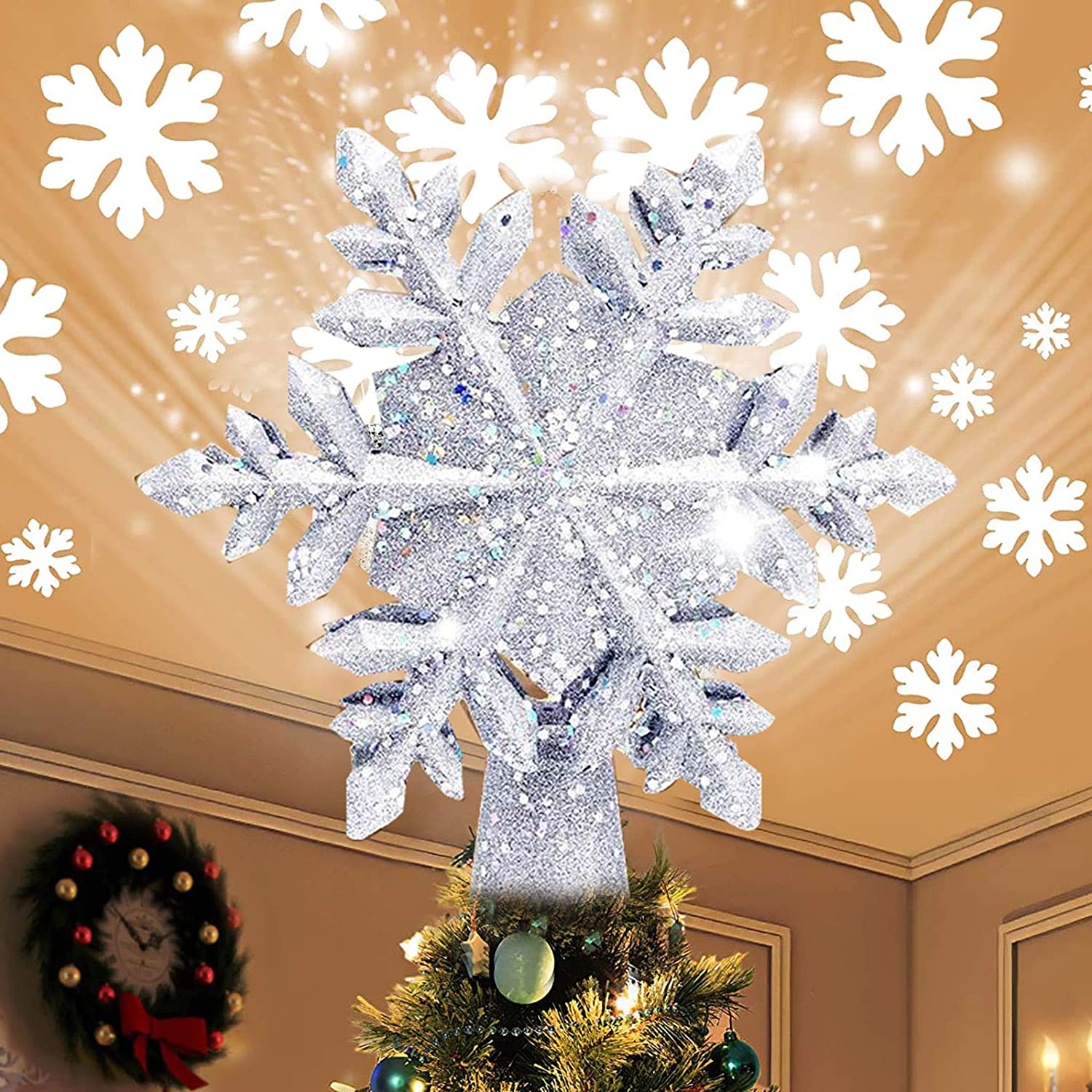 Emopeak Christmas Tree Topper Lighted White with Ranking TOP7 Proje Snowflake El Paso Mall