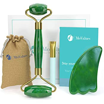 Original Jade Roller and Gua Sha Set - Jade Roller for Face - Face Roller: 100% Real Natural Jade - Facial Roller for Wrinkles, Anti Aging Face Massager - Authentic, Durable, Noiseless Design