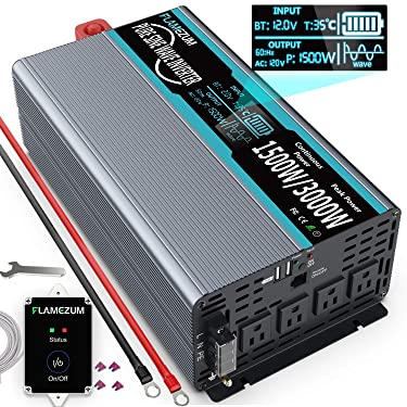 FLAMEZUM 1500W Pure Sine Wave Power Inverter DC 12v to AC 110v-120v Peak Power 3000W with 4.8A Dual USB Ports 3 AC Outlets and Remote Control LCD Display for Home RV Truck