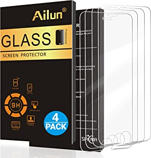 Ailun Screen Protector Compatible with iPhone 8 7 6s 6 Tempered Glass 4 Pack 2.5D Edge Compatible with iPhone 8 iPhone 7 iPhone 6s iPhone 6 Anti Scratch Case Friendly Siania Retail Package