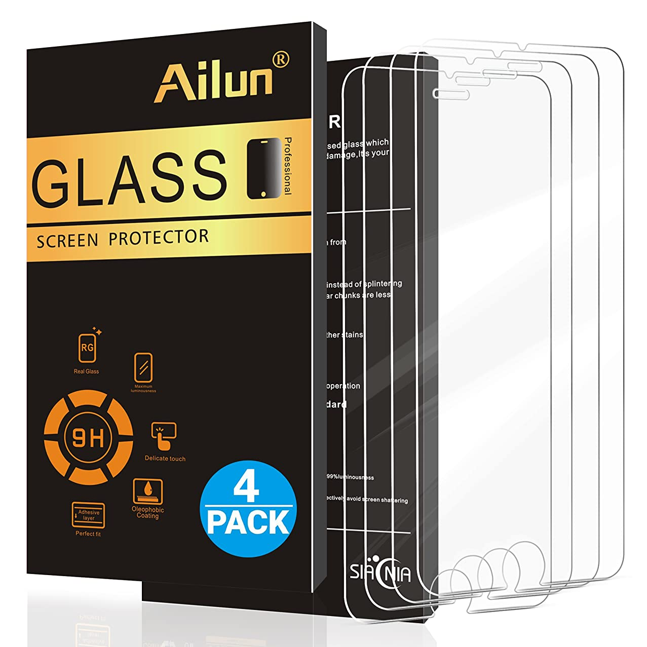 Ailun Screen Protector Compatible with iPhone 8 7 6s 6,[4 Pack],2.5D Edge Tempered Glass Compatible with iPhone 8,iPhone 7,iPhone 6s,iPhone 6,Anti-Scratch,Case Friendly,Siania Retail Package