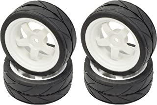 Apex RC Products 1/10 On-Road 12mm White 5 Spoke Wheels V Tread Rubber Tires (Set of 4) #5015