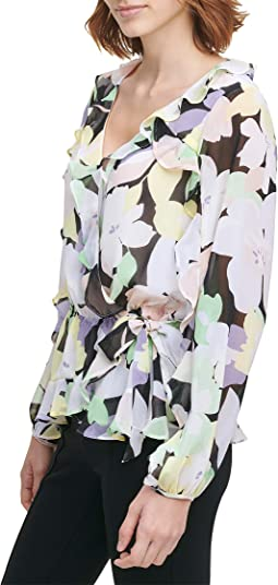 Faux Wrap Blouse with Ruffle Sleeve