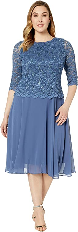Plus Size Tea Length Sequin Lace Mock Dress