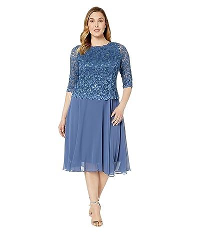 Alex Evenings Plus Size Tea Length Sequin Lace Mock Dress (Wedgewood) Women