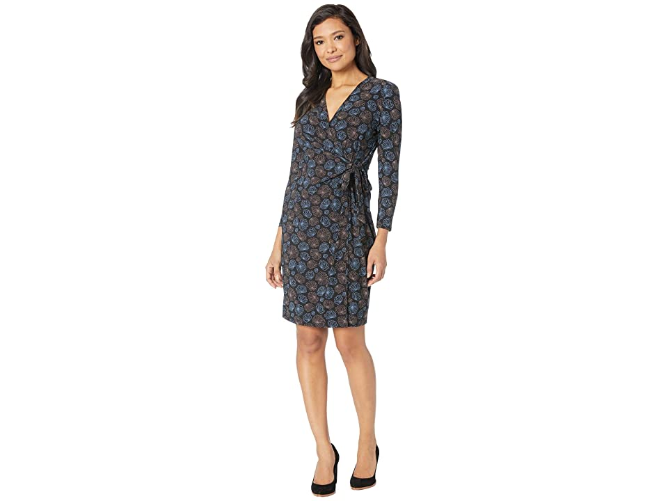 Anne Klein Justine Faux Wrap Dress (Anne Black/Versailles Combo) Women