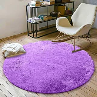 YOH Soft Round Fluffy Area Rugs Circle Rug for Bedroom Kids Room Living Room Playroom Boys Girls Baby Kids Children Play Carpet for Bedroom Home Nursery Decor Yoga Mats (4 x 4 Feet,Purple)