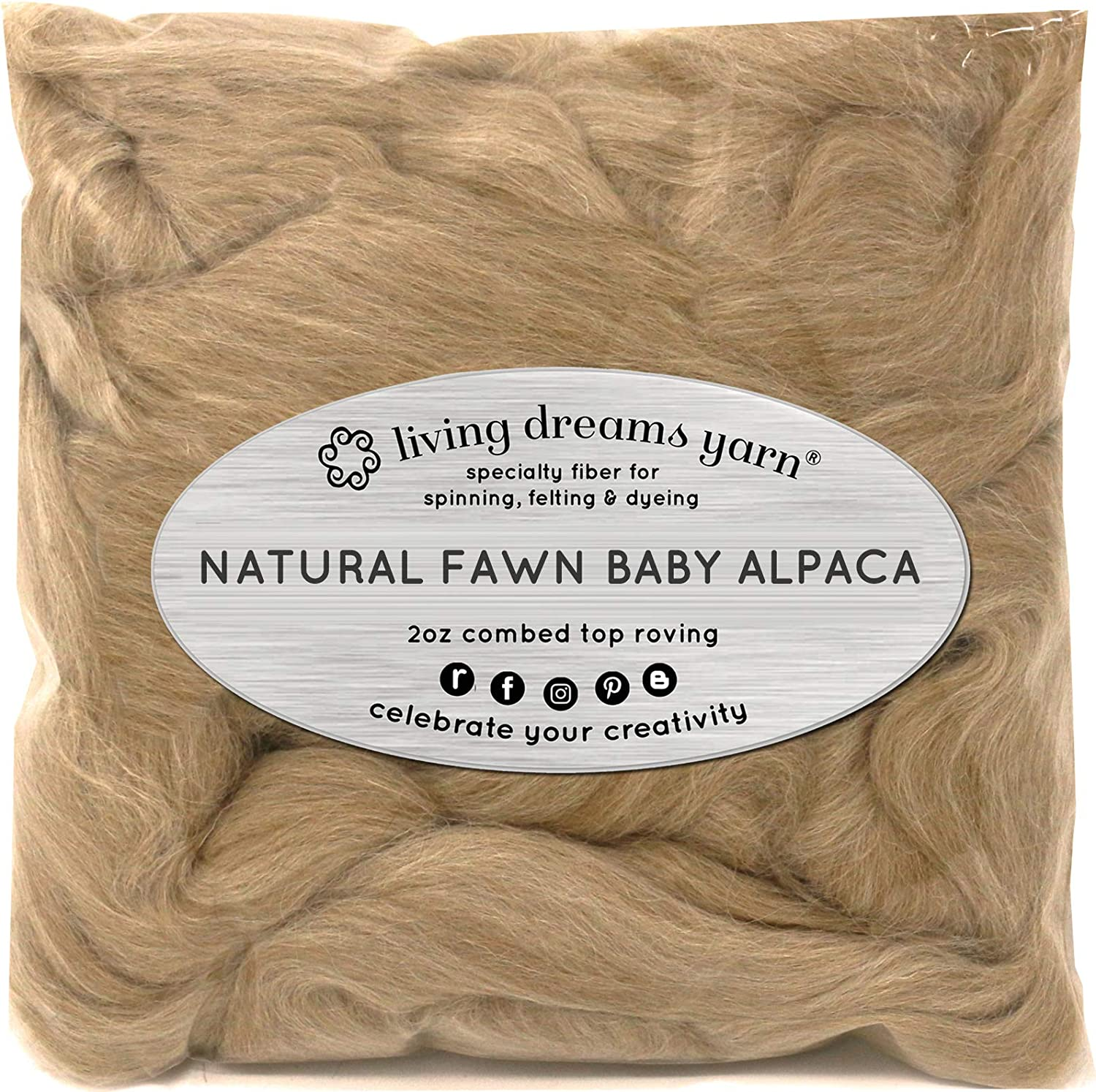Beige 100/% Alpaca Roving for Spinning