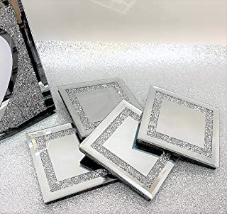 Lesser & Pavey The Leonardo Collection Mirrored Silver Glass Coasters With Multicrystal Border - Set Of 4 Glass Coasters
