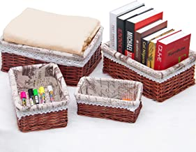 pentaQ Handmade Wicker Storage Basket Set, Woven Shelf Baskets Decorative Home Storage Bins Multipurpose Organizing Basket...