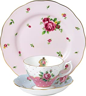 Royal Albert Modern Vintage Mixed 3 Pc Set Teacup, Saucer & Plate 20cm, Fine Bone China, Multi, 1