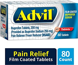 Advil Film-Coated (80 Count) Pain Reliever / Fever Reducer Caplet, 200mg Ibuprofen, Temporary Pain Relief