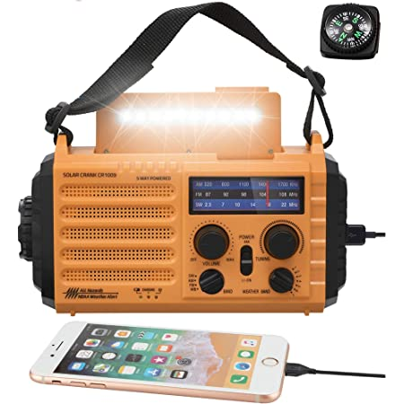 5000mAh Weather Radio,Solar Hand Crank Emergency Radio,NOAA/AM/FM Shortwave Outdoor Survival Portable Radio, Power Bank USB Charger,Flashlight/Reading Lamp,Headphone Jack,SOS