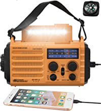 5-Way Powered Solar Hand Crank NOAA Weather Alert Radio,AM/FM Shortwave Survival Portable Outdoor Emergency Radio,2500mAh ...