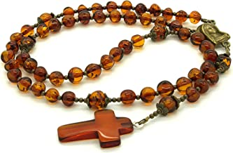 Genuine Baltic Amber Catholic Prayer Rosary with Crucifix Amber Cross