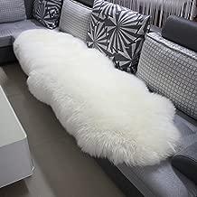 WOLTU TP3513ws-L Öko Lammfell Schaffell Teppich Bettvorleger Sofa Matte echtes Naturfell Longhair Weiß 180-210cm