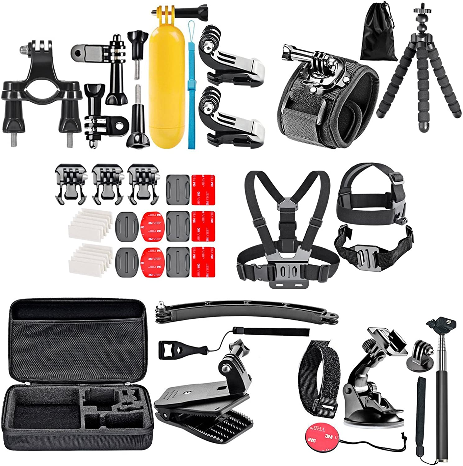 Gopro Everything You Need Package for GoPro Hero4, Hero4 Session, Hero+, Hero, Hero3+, Hero3, Hero2 Kit Includes  Outdoors Kit with Arm Mount & Flat Surface Mount + Head Strap + Tripod + 16GB Memory & more All in One Bundle