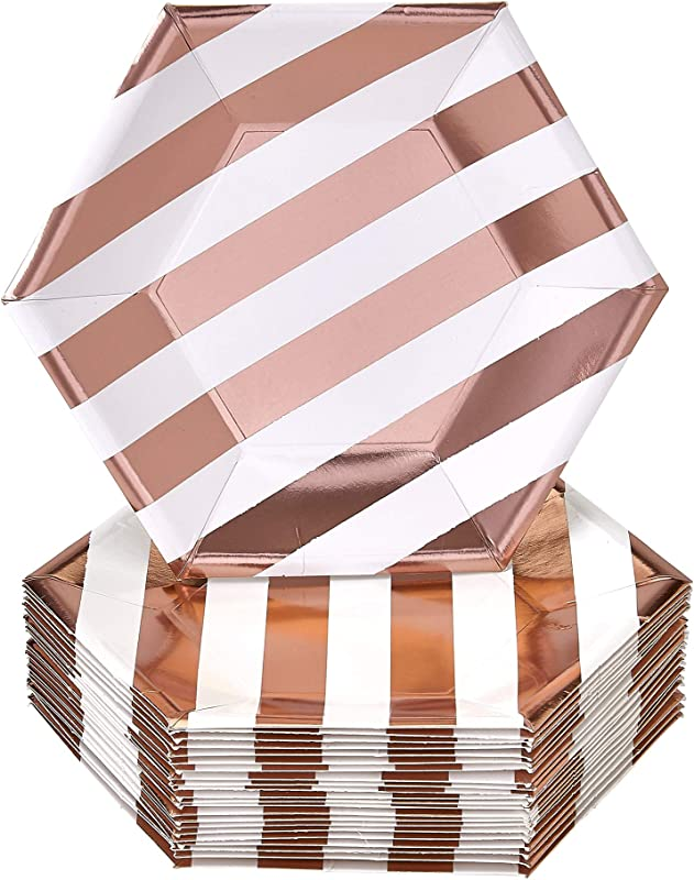 DISPOSABLE SIDE PLATES 24 Pc Made Of Heavyweight Paper Materials Stripe Rose Gold 7 5