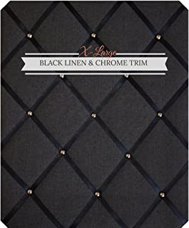 X Large Size Black Linen Memo Board with Chrome Studwork