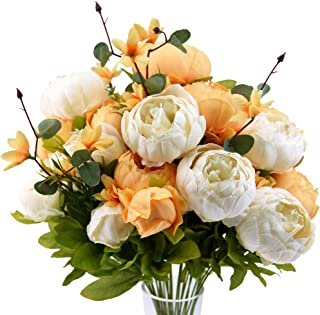 FiveSeasonStuff Vintage Artificial Peonies Silk Flowers and Hydrangeas for Wedding Bridal Home Décor – Beautiful Floral Ce...