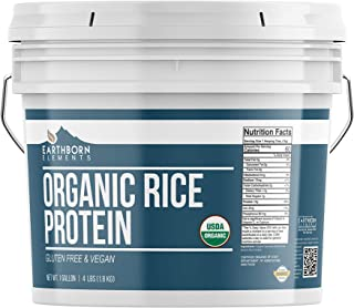 Organic Rice Protein Powder, 1 Gallon Bucket by Earthborn Elements, Sustainably Sourced from Sprouted Brown Rice, Vegan and Gluten-Free, Post-Workout Recovery