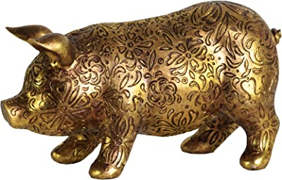 Urban Trends 24876 Resin Standing Pig Figurine with Engraved Floral Design SM Metallic Finish Gold, Small,