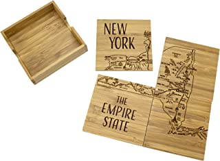 Totally Bamboo New York State Puzzle 4 Piece Bamboo Coaster Set with Case