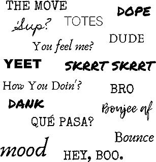 ملصقات Slang Word - مجموعة 1 - مقاوم للماء، كبير، مضحك، ملصقات كلمات سلانغ - الكمبيوتر المحمول، لوح التزلج، زجاجة ماء