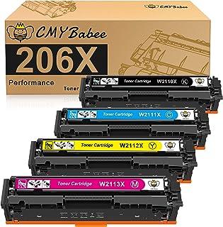 CMYBabee Compatible Toner Cartridge Replacement for HP 206X W2110X W2111X W2112X W2113X for HP Color LaserJet Pro M255dw M...