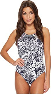 7d75e5173c Tommy Bahama Womens Paisley Paradise Reversible High-Neck One-Piece Swimsuit  Mare Navy Size